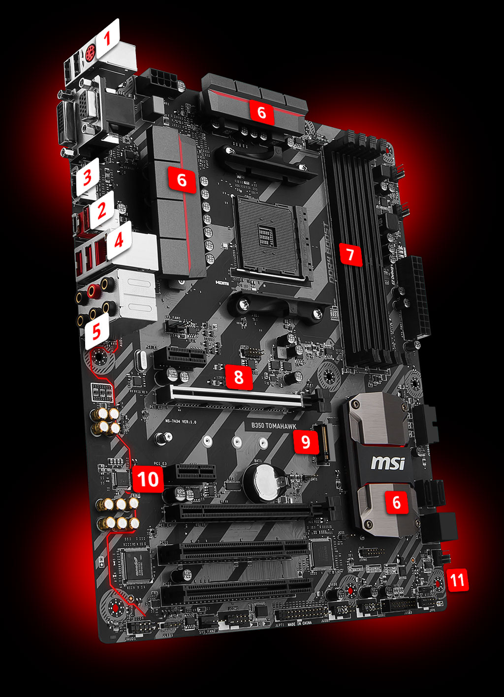 MSI B350 Tomahawk B350 AM4 ATX Motherboard | PC Express