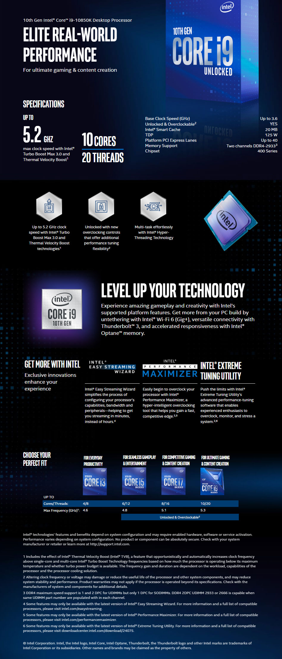 Intel Core i9-10850K Processor (20M Cache, 10 Cores, 20, Threads, up to 5.20 GHz)